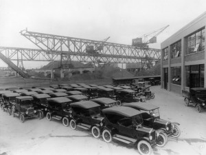 Ford T's waiting for shipment to customers, Copenhagen ca. 1925. National museum, unknown photographer.